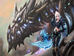 Guerrera con su dragón