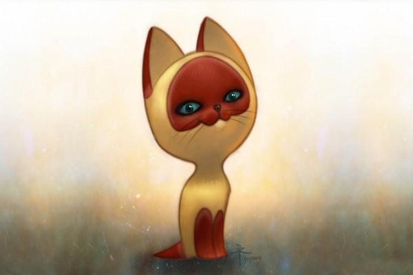Gato con máscara roja