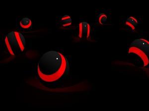 Esferas negras y rojas