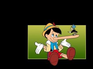 Postal: Pepito Grillo en la nariz de Pinocho