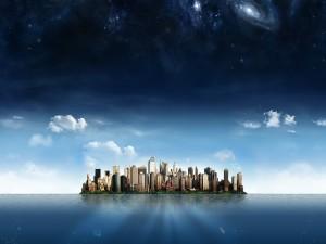 Postal: Ciudad en medio del mar