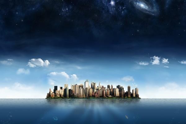 Ciudad en medio del mar