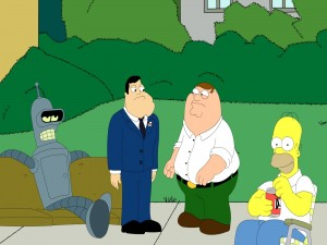Postal: Bender, Stan, Peter Griffin y Homer Simpson