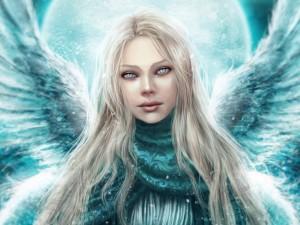 Postal: Ángel de ojos celestes