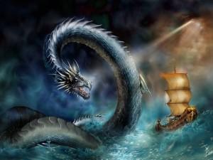 Dragón atacando en el mar
