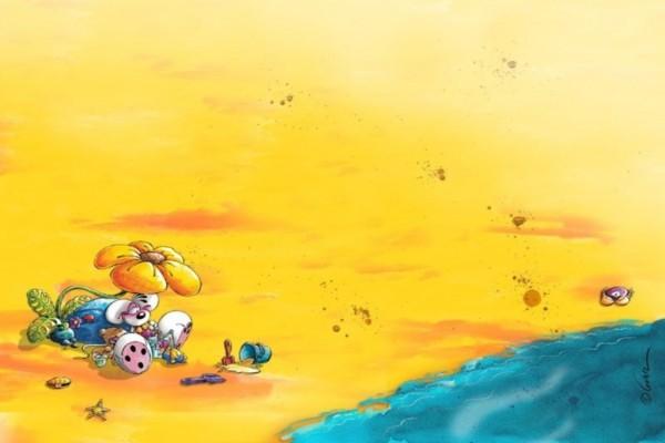Diddl en la playa