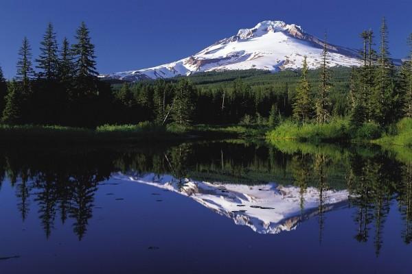 Monte Hood reflejado en el lago Trillium (Oregón, Estados Unidos)