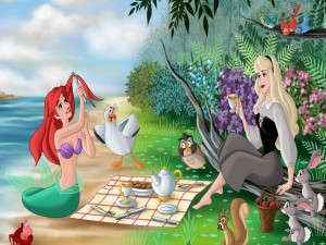 La Sirenita tomando el té
