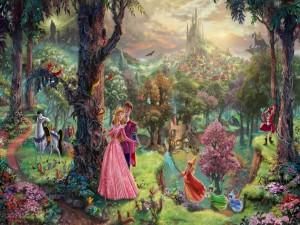 Pareja en un bosque encantado