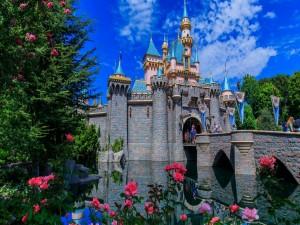 Postal: Castillo Disney con un puente y hermosas flores