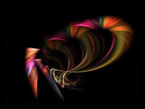 Postal: Curvas de colores