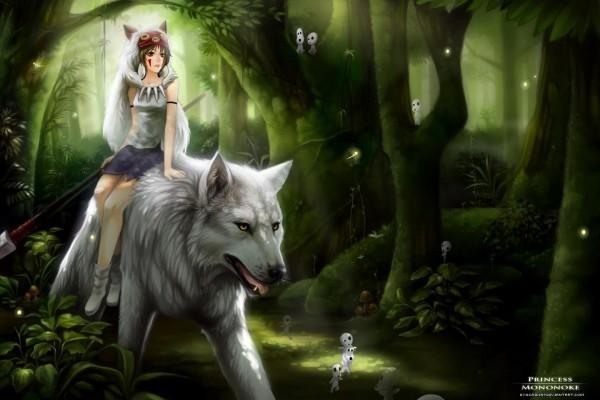 La princesa Mononoke sobre un lobo blanco