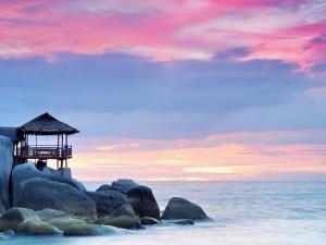 Postal: Rocas y mar