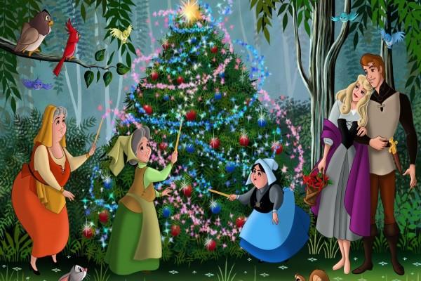 La Bella Durmiente, reunidos alrededor del árbol de Navidad