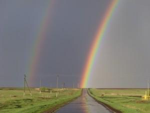 Postal: Arco iris al final del camino