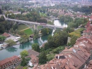 Postal: El río Aare atravesando Berna, Suiza