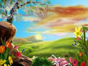 Huevos de pascua entre flores