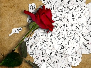 Postal: Una rosa y mucho amor