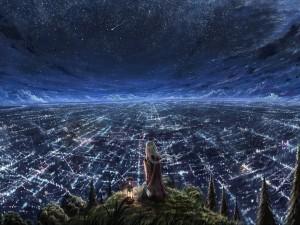 Postal: Admirando el paisaje nocturno