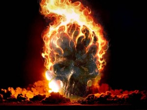 Postal: Calavera en llamas