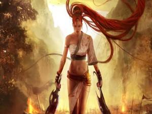 Postal: Guerrera de pelo rojo
