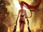 Guerrera de pelo rojo