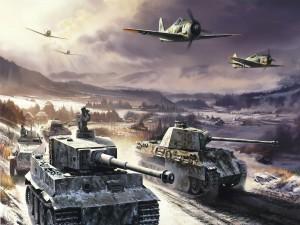 Postal: Panzer entre la nieve