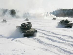 Postal: Tanque Leopard en la nieve