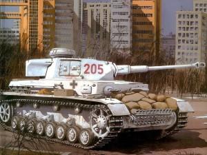 Postal: Panzer en blanco