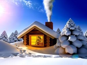Postal: Interior de una casita el día de Navidad