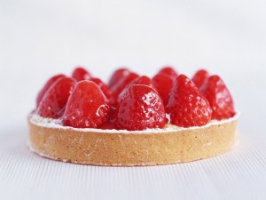 Postal: Tarta con fresas