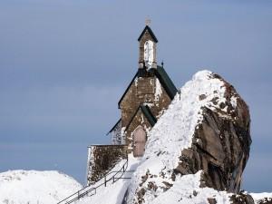 Postal: Iglesia en la cumbre de la montaña Wendelstein, Baviera, Alemania