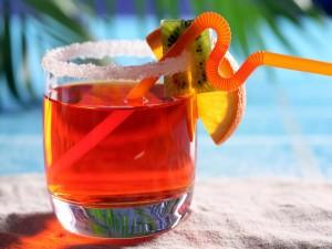 Postal: Bebida en la playa