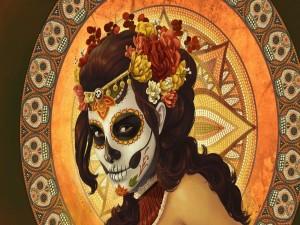 Mujer celebrando el día de los muertos