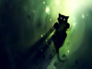 Postal: Gato en la superficie del agua