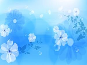 Postal: Flores sobre un fondo azul