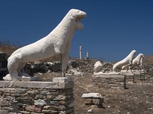 Postal: Terraza de los Leones, isla de Delos, Cícladas (Grecia)