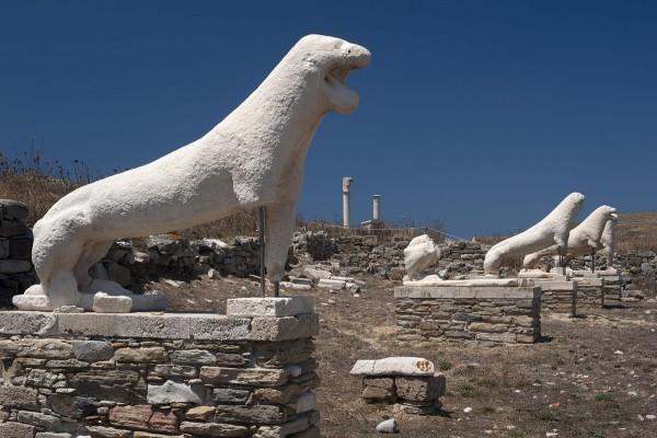 Terraza de los Leones, isla de Delos, Cícladas (Grecia)