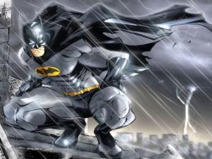 Postal: Batman bajo la lluvia
