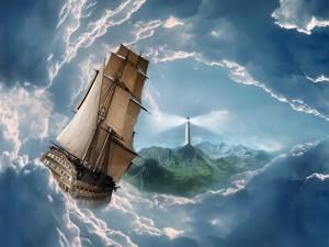 Postal: Barco en un mar de nubes