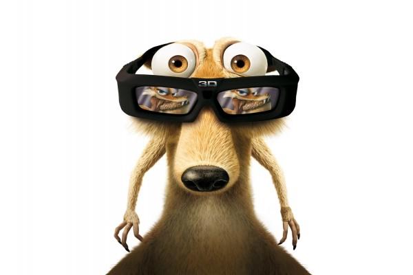 """Ardilla de """"Ice Age"""" con gafas 3D"""