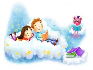 Postal: Niños leyendo en las nubes