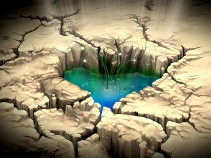 Charca con forma de corazón