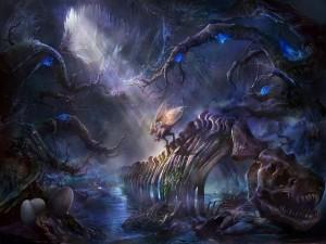 Pequeño dragón en su cueva