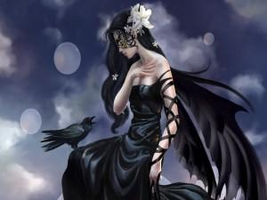 Postal: Mujer cuervo