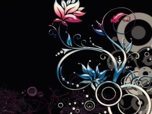 Postal: Círculos y flores