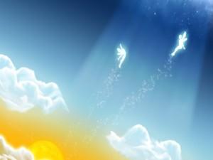 Postal: Hadas en el cielo
