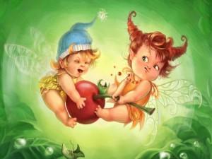 Postal: Bebés hada peleándose por una cereza