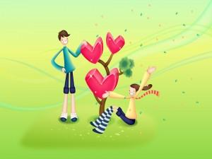 Pareja plantando el árbol del amor