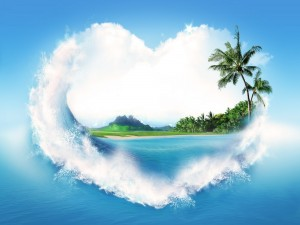 Ola formando un corazón